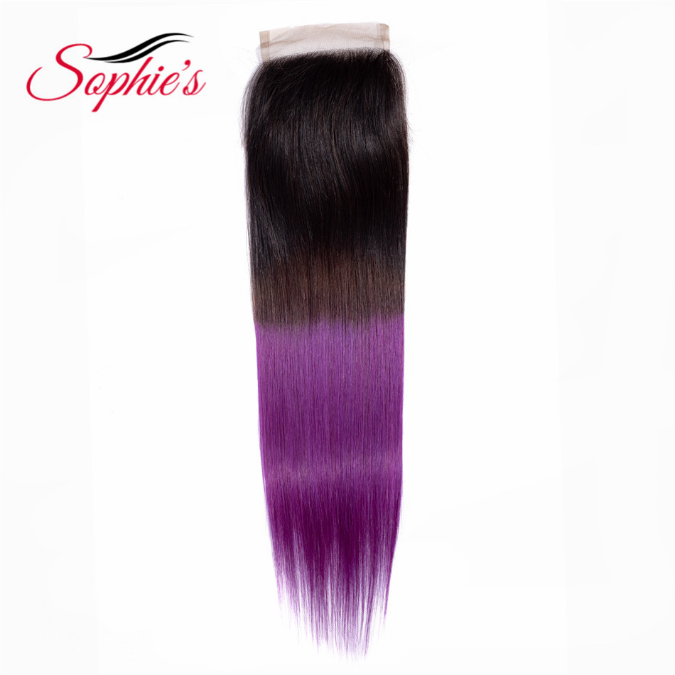 Sophie's Pre-Colored Ombre Hair T1B/Purple Color 4*4 Closure Peruvian Human Non-Remy Straight  Hair Extensions