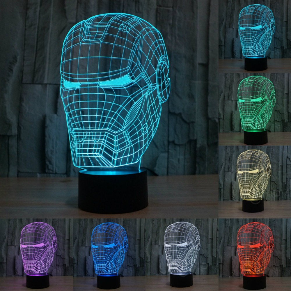 Новый 7 Изменение цвета ночника Декор светодиодный 3D Иллюзия ночник Железный Человек Форма Маски светодиодный настольная лампа, как подаро...