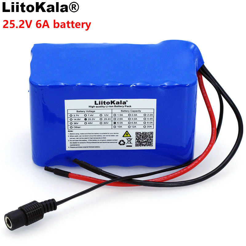 Liitokala 24 V 6Ah 6S3P 18650 batterie 6000 mAh vélo électrique cyclomoteur/électrique/Li ion batterie avec 25.2 v BMS Protection