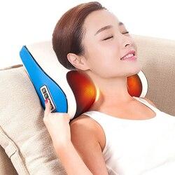 Multi-funcional almohada de masaje eléctrica calefacción por infrarrojos amasar cuello hombro cuerpo masajeador almohada uso vértebra Cervical