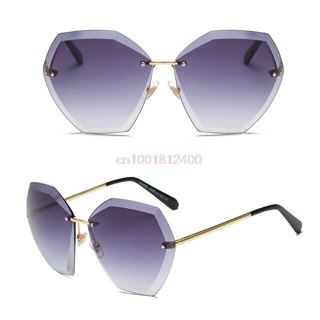 3fd2d6ce31933 Mulheres Óculos De Sol Sem Aro de Cristal Cortar Lentes Óculos De Sol  Designer De Gradiente