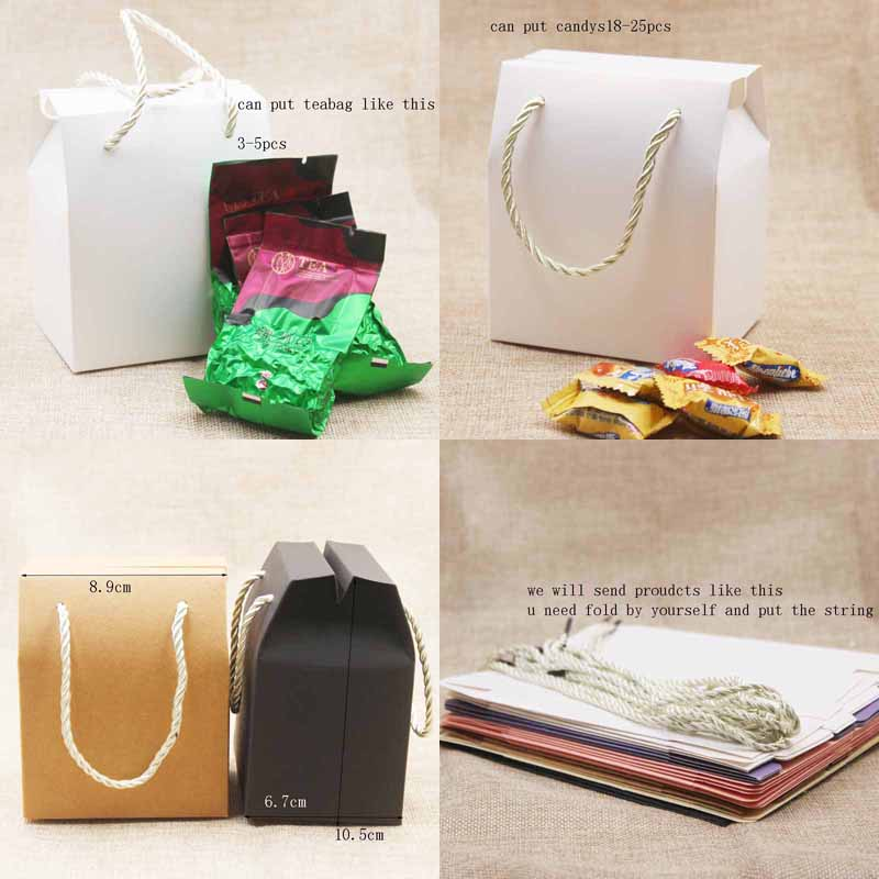 Image 3 - Feiluan 50pcs blank paper handle gift box with heart /retangular 