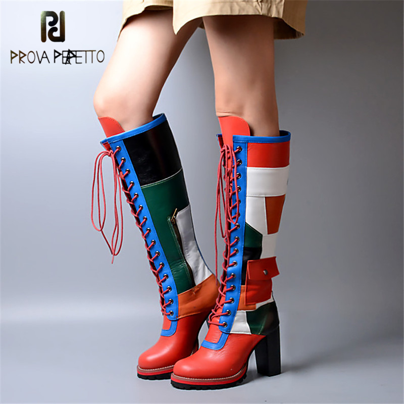 Prova Perfetto Winter Fashion Mixed Color Cow Genuine Leather Patchwork Boots Cross tied Thickness Bottom Chunky