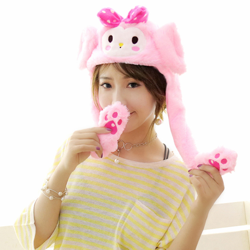 New Cute Moving Hat Rabbit Ear Plush Sweet Cute Lighting Hat Shine Can Move Cap Party Ear Pinching Bunny Hat