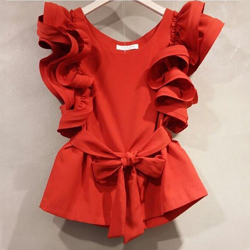 MAPUSITOM T Shirt Women 2019 Summer New Lotus Leaf Short Sleeve T Shirts Female Loose Bow Tie Tops Lady Fashion Tshirts