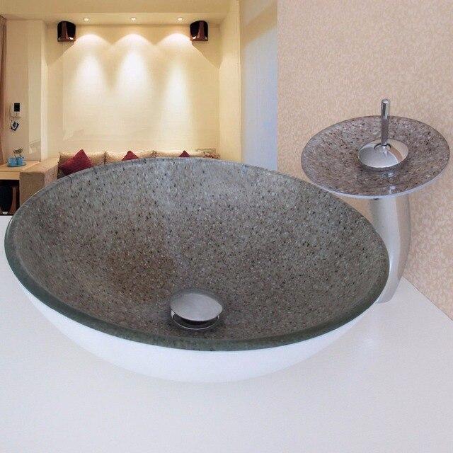 Wunderbar Neue Ankunft Moderne Pastoral Weißen Boden Und Runde Gehärtetes Glas  Badezimmer Waschbecken Waschbecken Schüssel Mit Armaturen