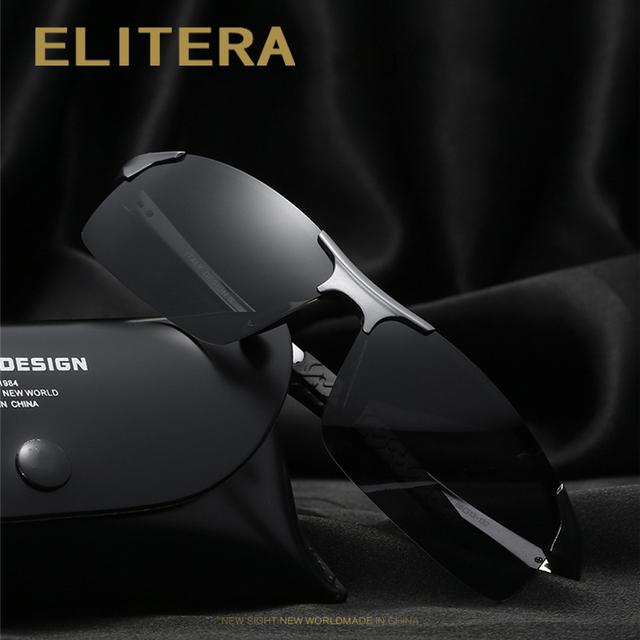ELITERA Aluminum Magnesium Men's Sunglasses Polarized Coating Mirror Sun Glasses oculos Male Eyewear Accessories For Men E8177