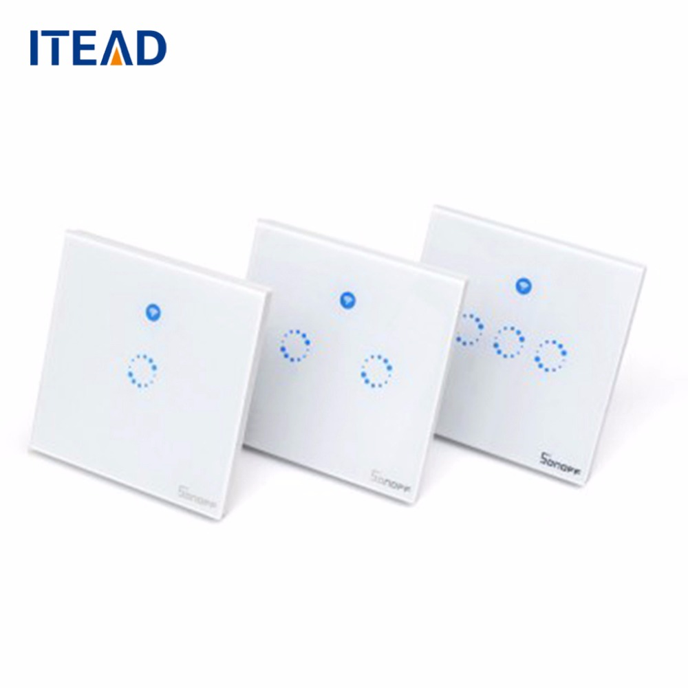 Sonoff T1 Smart WiFi RF APP Touch Control Wall Light Switch 1 2 3 Gang 86 Type UK Panel Smart Home Switches eu us itead sonoff touch wifi switch crystal glass panel 1 gang 1 way wifi timing wall switch control via app for smart home