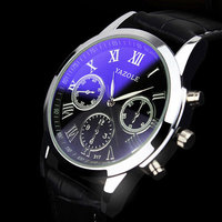 Yazole Luminous Hands Quartz Watch PU Leather Men S Wristwatch Simple Business Watch Water Resistance Relogio