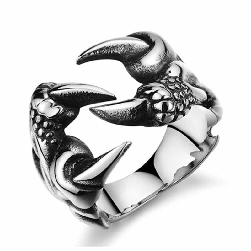 Gothic Punk แหวนผู้ชายแฟชั่น Retro Skull หมาป่ามังกรงู Tiger ชายแหวน Anel เครื่องประดับฮาโลวีนอุปกรณ์เสริม Anillo Hombre