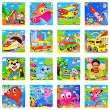 Colorful Wooden Puzzle Cute Cartooon Animal Techinc Car Aircraft Ship Jigsaw Puzzles Baby Early Education Boys Girls Puzzle Toys(China)