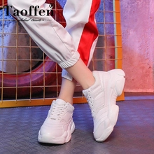 Купить с кэшбэком Taoffen Women'S Flats Sneakers Fashion White Vulcanized Shoes Women Lace Up Round Toe Breath Air Mesh Running Shoes Size 35-39