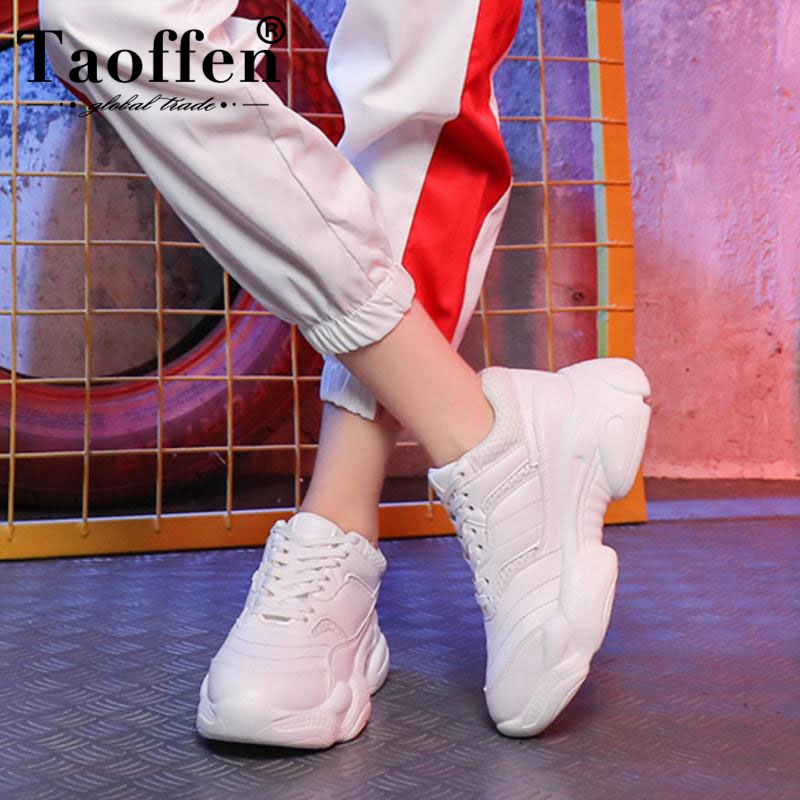 Taoffen Women'S Flats Sneakers Fashion White Vulcanized Shoes Women Lace Up Round Toe Breath Air Mesh Running Shoes Size 35 39