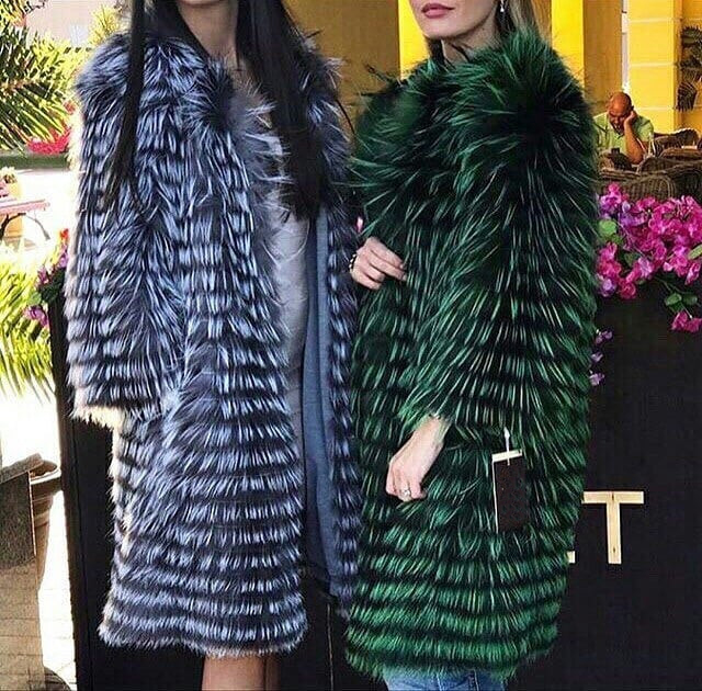 Lady Striped Silver Fox Fur Coat Long With Wool Lining Spring Autumn Free Shipping Luxury Elegant Plus Size Clothes Green Collar