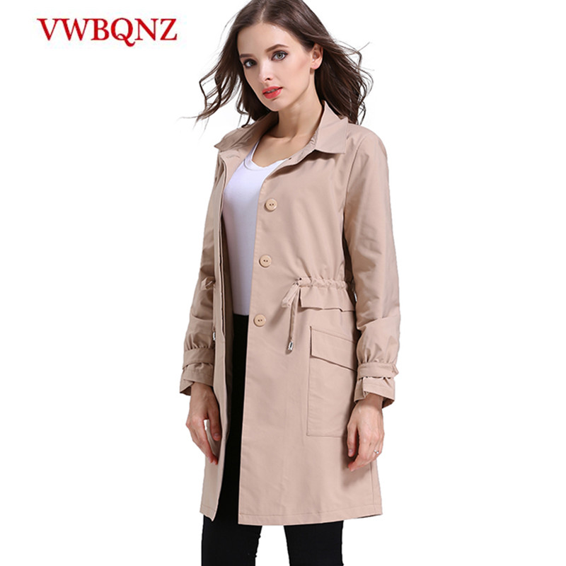 2018 Spring New Women Windbreaker Fashion Clothing Plus size 5XL Medium long Casual   Trench   Slim Single-breasted Long sleeve Coat
