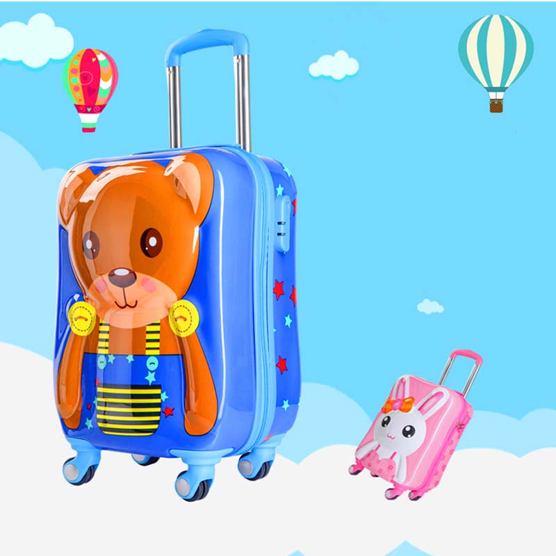 LeTrend 19 inch 3D Cute Cartoon Children Rolling Luggage Spinner Suitcase Wheels Students Cabin Trolley Kid