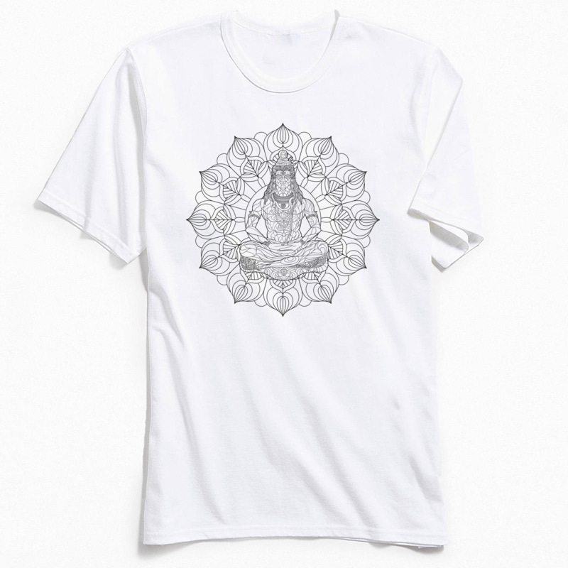 Men T Shirts Latest O-Neck SHIVA MANDALA T-shirt Mens 100% Cotton Tees Male Tops TShirt Casual Short Sleeve TShirts Top Quality
