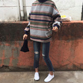 Outono inverno Falso camisola de lã 2017 Harajuku ulzzang mulheres listrado manga sopro pullover hoodies feminino casual solto casacos