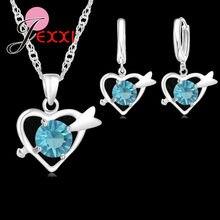 dbaaed377174 JEXXI conjuntos de joyería de moda para mujer 925 Corazón de plata de ley cristal  colgante collares pendientes conjunto nupcial .
