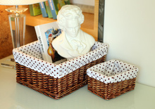 Home rattan storage basket desktop cosmetics box cloth dirty clothes