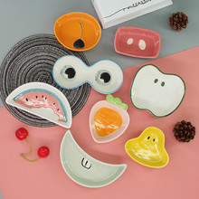 1PC Creative Handcraft Cartoon  Ceramic Plates Japanese Sushi Dishes Snacks Kitchen Vinegar Seasoning Sauce China Dinnerware