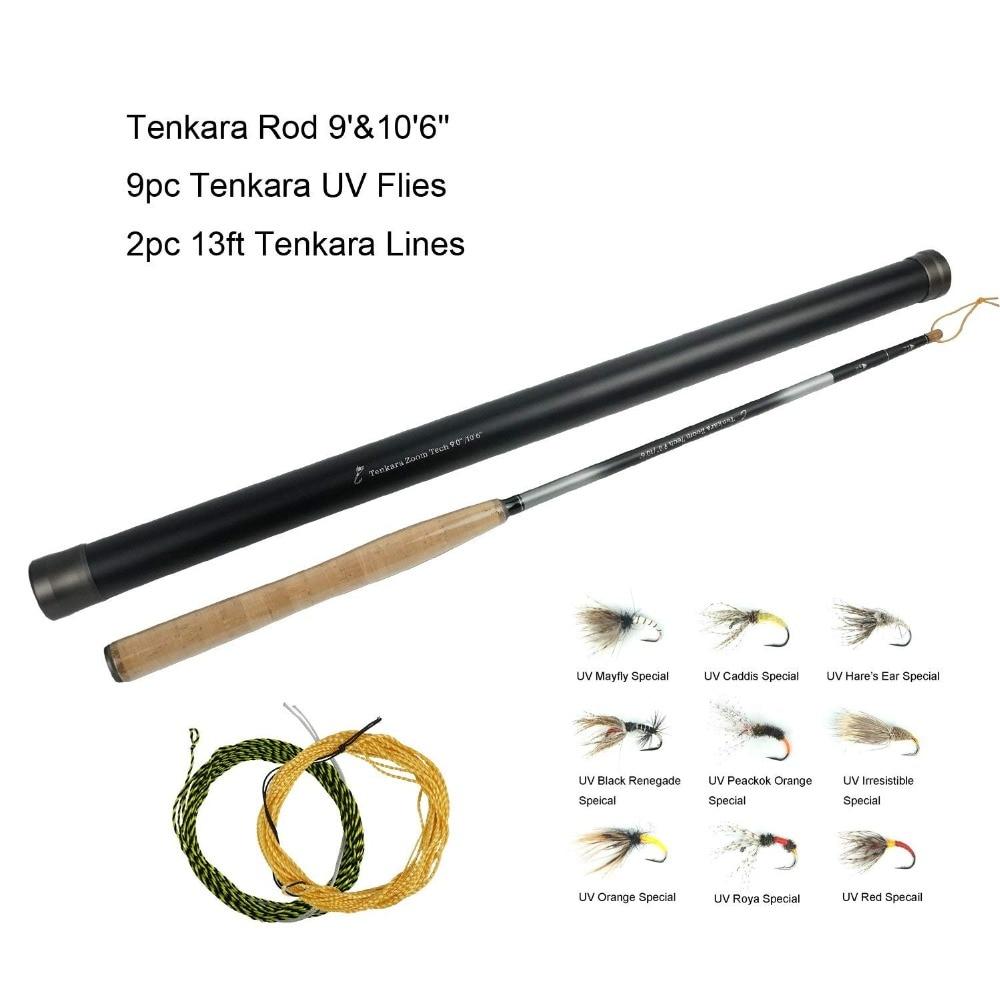 Aventik Tenkara Rod Combo Advanced Zoom Tenkara Rods Two In One Different Length 9'0'' 10'6'' With Tenkara Flies Furl Leader