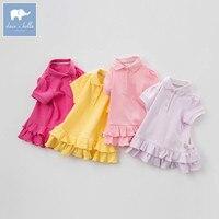 DB7717 Dave Bella Summer Baby Girls Cute T Shirt Kids 100 Cotton Fashion Tops Children High