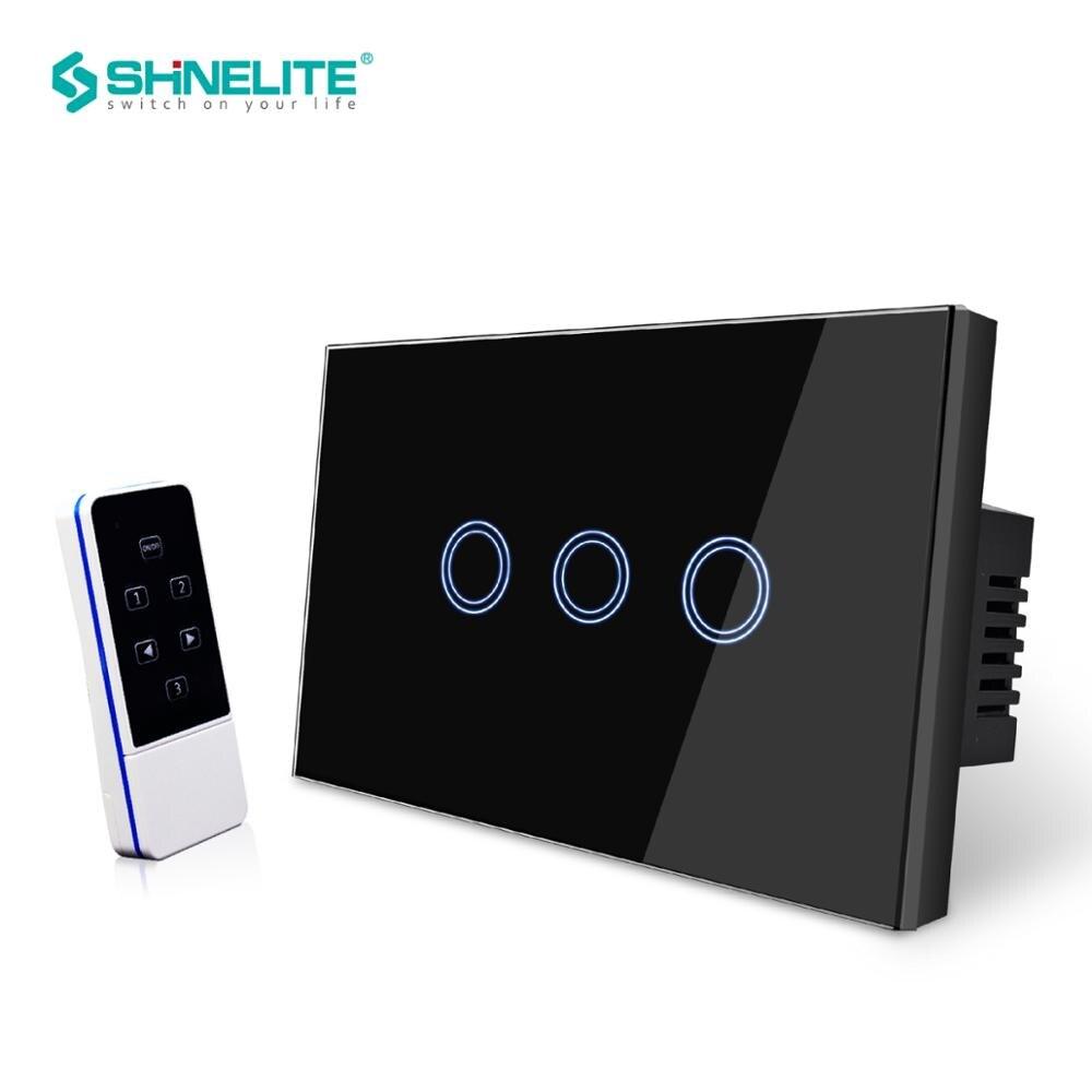 300 W AU/US Standard intelligent capacitif 3 gang 3 voies télécommande panneau mural interrupteur LED rétro-éclairage, panneau de verre cristal