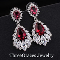 Vintage Bridal Earring Big Chandelier Cubic Zirconia Pave Synthetic Ruby Red Stone Women Long Drop Earrings For Wedding ER042