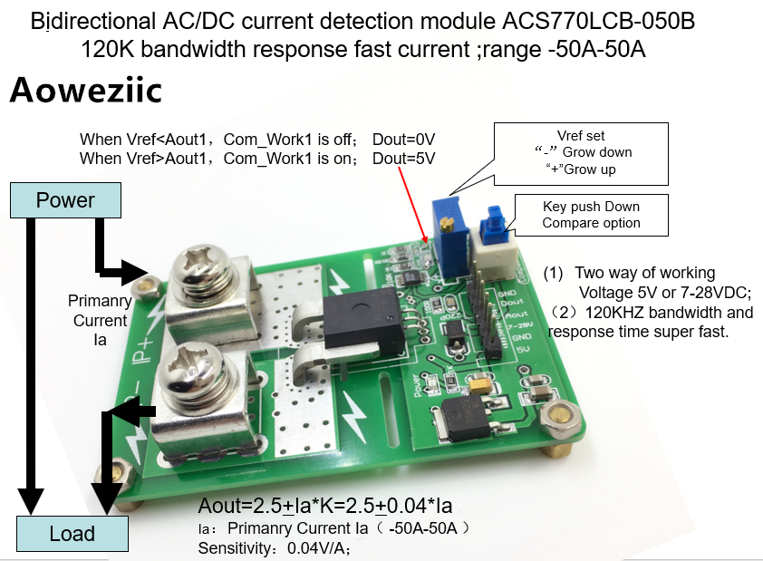Aoweziic ACS770LCB-050B AC/ DC ACS770LCB detection over current protection module over current protection function Rang:-50A-50A 1pcs current detection sensor module 50a ac short circuit protection dc5v relay page 6