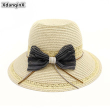XdanqinX Elegant Lady Straw Hat Summer Breathable Sun Hats For Women Bow Decoration Big Visor Womens Beach Foldable Cap