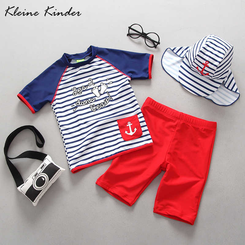a9ad71a98c UPF50+ Baby Swimsuit for Children Two Pieces Rash Guards Summer Baby Swimwear  Boy Stripe Separate Short