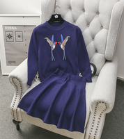 Alpha 2016 High End Women S Embroider Bird Sweater Top Skirt 2pcs Sets