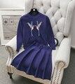 2016 High-end das Mulheres Lantejoulas Camisola Top + A Linha de Bordar Pássaro saia 2 pcs Define Senhoras Inverno Vogue Ternos De Malha Preto Vermelho azul