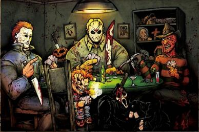 Michael myer SLASHERS PLAYING POKER HORROR MOVIE BIG CHRIS 8x12 20x30 24x36 Silk Poster Art image