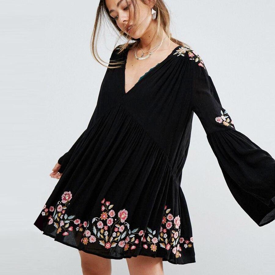 Broderie florale A-ligne mini robes 2018 printemps rayonne col en v flare manches longues chic boho robes Décontracté Hippie robe femmes