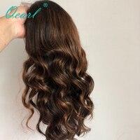 Полная парики, кружева 1B/33 #/30 # Выделите ломбер Цвет реальных человеческих волос 180%/200% толстые плотности Реми бразильские волнистые волосы п