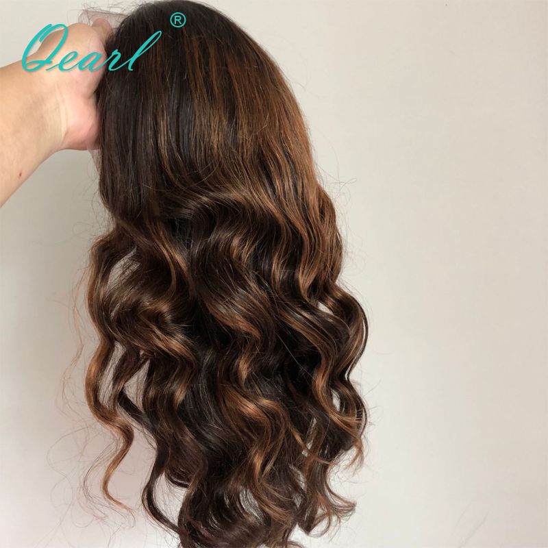 Full lace Wigs 1B 33 30 Highlight Ombre Color Real Human Hair Wigs 180 200 Thick Density Remy Brazilian Wavy Hair Wigs Qearl in Human Hair Lace Wigs from Hair Extensions Wigs
