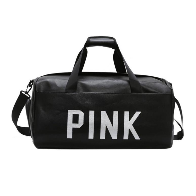 Women Quality Travel Bag PU Leather Couple Pink Letter Hand Luggage Men Duffle Bag High Grade Large Capacity