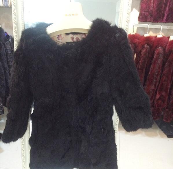 бесплатная доставка натуральный средний - шерсть кролика верхней одежды женский шубе меховой пальто