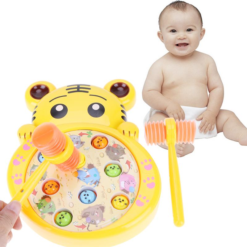 2017 Newest Electric Play Hamster Music Toys Hammer Cute Rabbit Tiger Shape Hamster Children Family Games For Birthday Gift