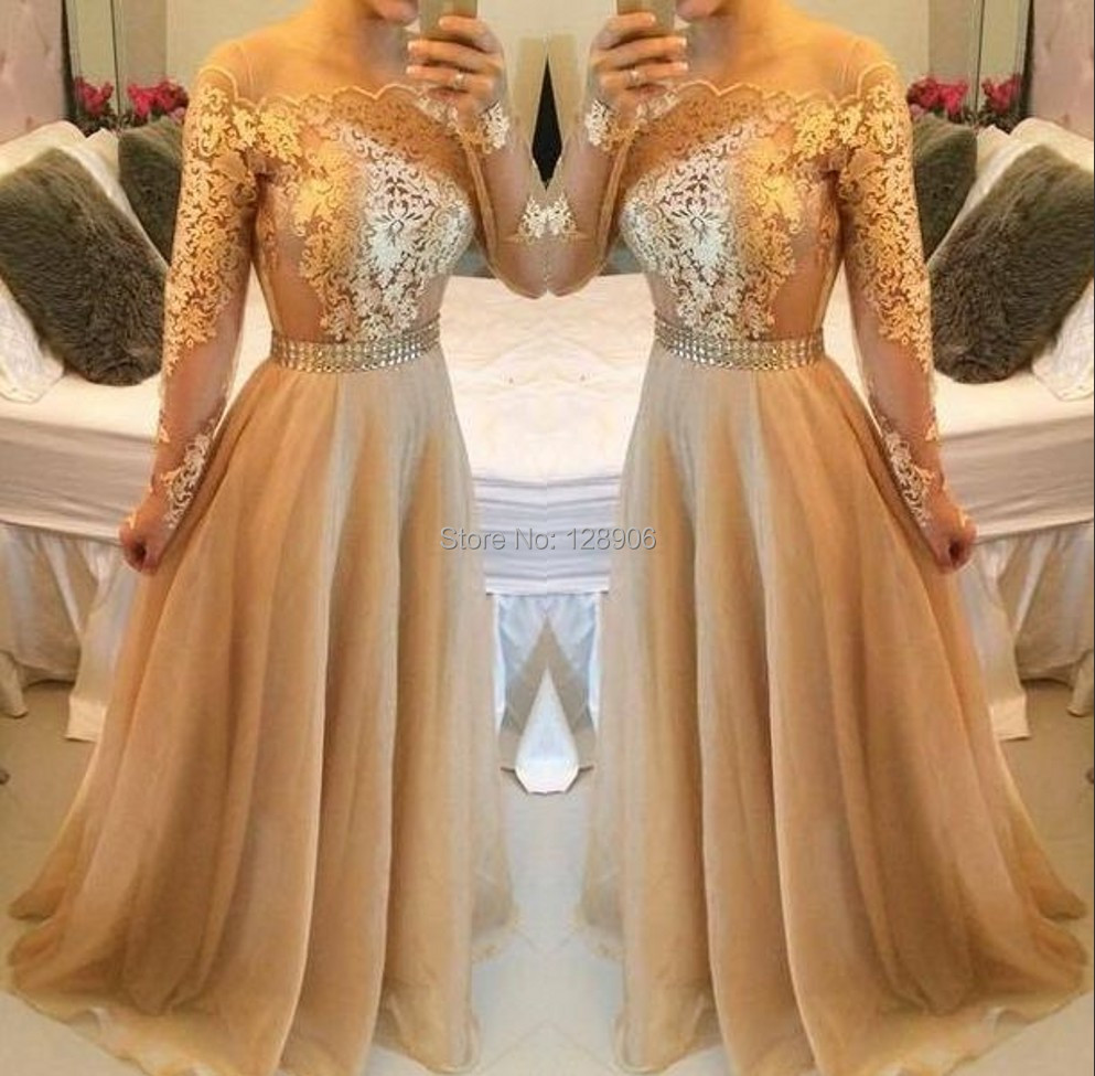 Sexy Champagne Prom Dresses 2015 Off Shoulder Prom Dress