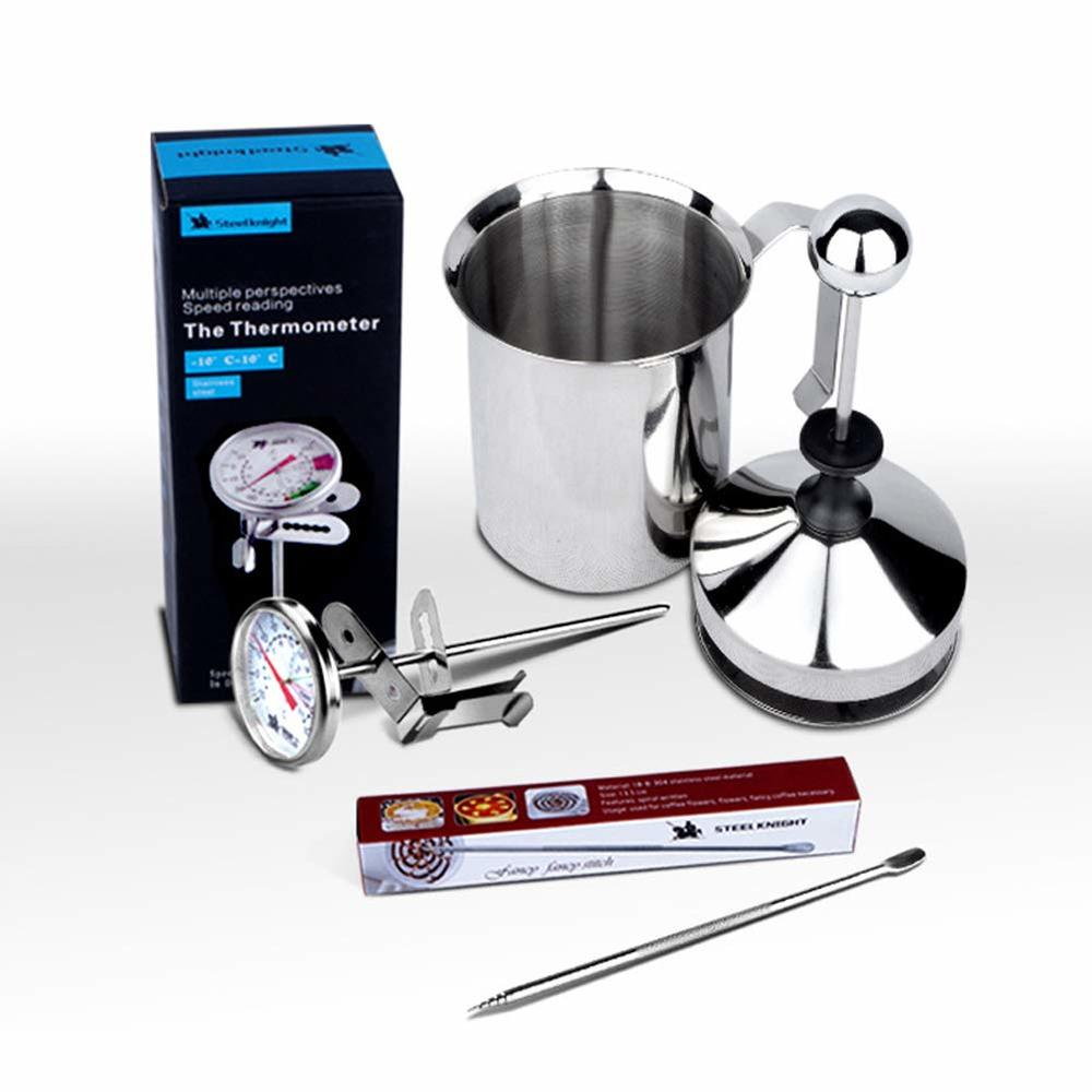 Coffee set-Manual Milk Frother with Latte Pen Dial and Thermometer French Press Coffee Maker Stainless Steel Pump Milk Foamer