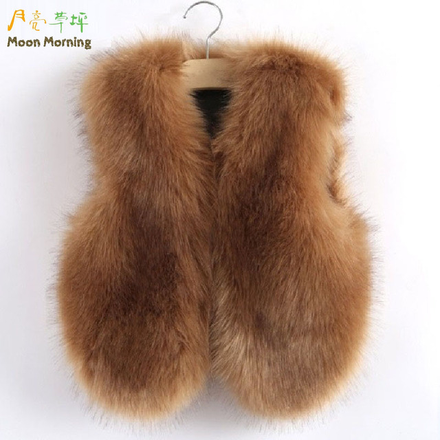 Moon Morning Kids Faux Fur Vest Descendentes Fille Garcon Gorgeous Vertement Winter 12 Warm Brand Gilets Christmas Girl Clothes