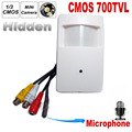 700tvl cámara de seguridad cctv cmos color 960 h motion detector pir estilo micrófono de la cámara de vigilancia cctv de interior de mini pir estilo