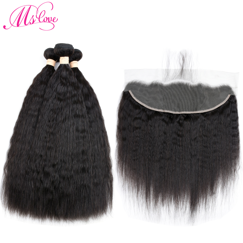 Ms Love Peruvian Kinky Straight Hair Lace Frontal Closure With Bundles Human Hair 3 Bundles With