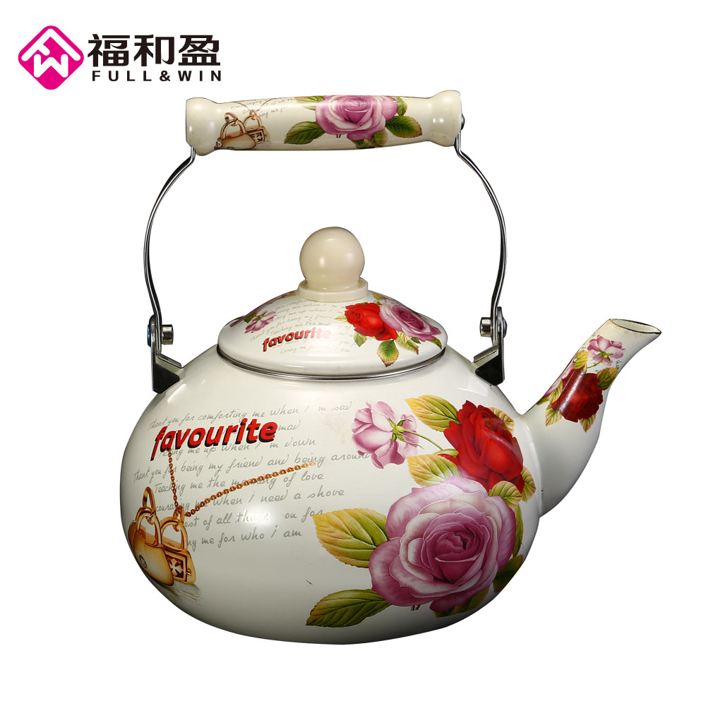 1Pcs 3.8L Favourit Enamel kettle dinerware teapot kitchen tools samovar electric Handle kettle tea pots with Flower stamp