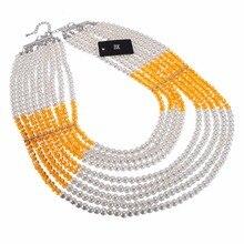 Multicolor Fashion Jewelry Chain Rhinestone Crystal Chunky Statement Pendant Bib Necklace BK