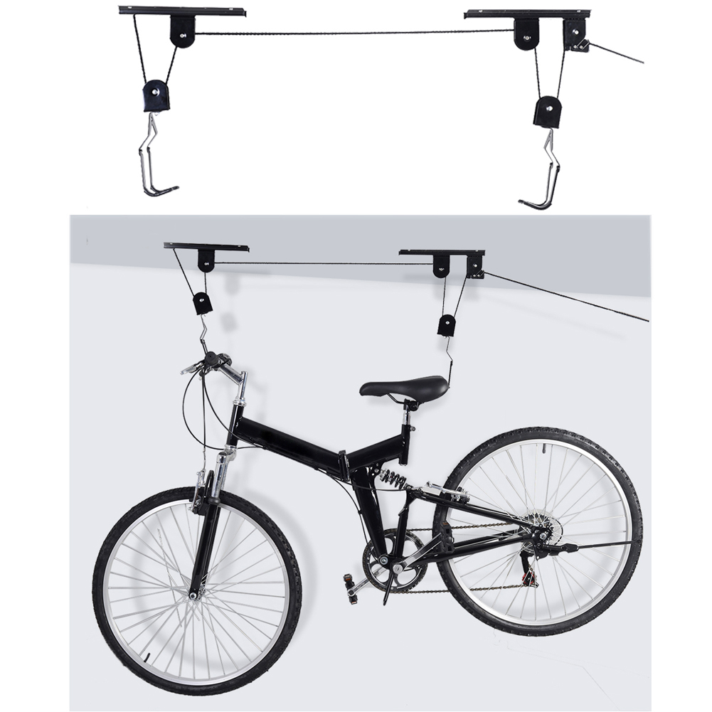 Strong Bike Bicycle Lift Ceiling Mounted Hoist Storage Garage Hanger Pulley Rack Metal Lift Assemblies ciclismo bicicleta недорго, оригинальная цена