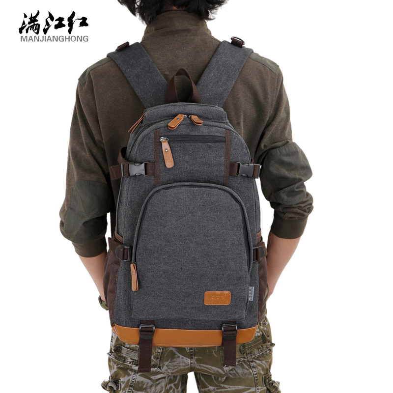 fashion canvas men's daily travel duffle backpacks for laptop Korean style vogue hipster versatile youth school bag yaskawa ac servo motor sgm a5a3nt14 second hand looks like new tested working